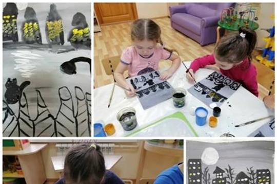 Ребята рисуют ночной город